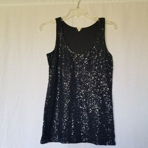 J.Crew sequenced black tank top size small.